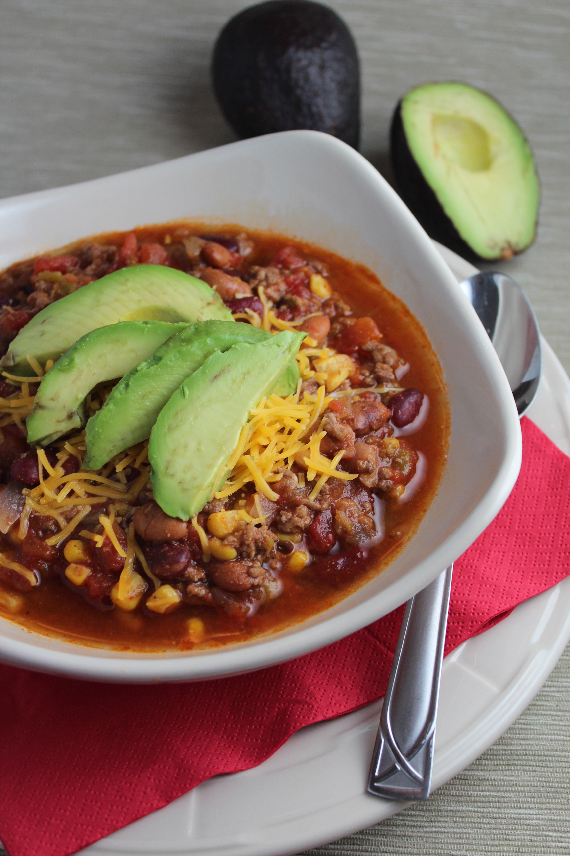 Avocado and Cheddar Topped Taco Soup