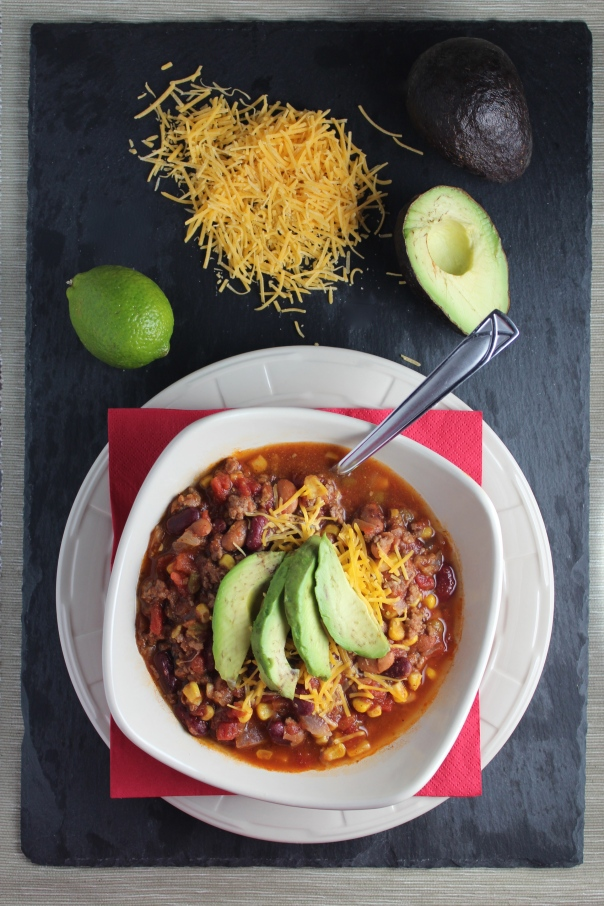 Taco Soup with Cheddar Cheese and Avocado