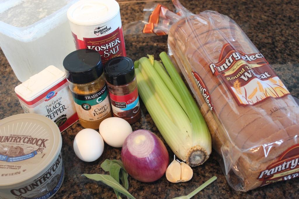 stuffing, cakes, spicy, chili powder, curry powder, celery, onions, garlic, bread, sage, recipe