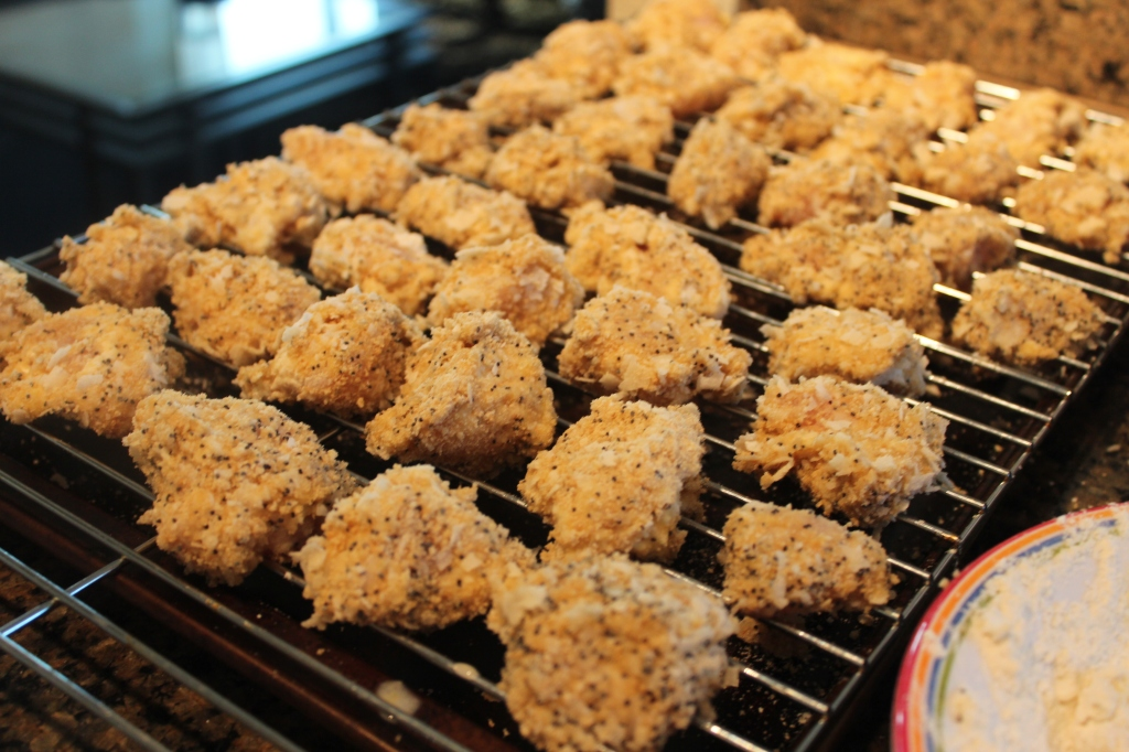 coconut, poppy seed, popcorn chicken, oven fried chicken, baked chicken, how to, crusted chicken