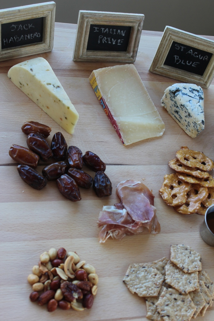 cheese plate, cheese, prosciutto, grapes, chalkboards, small display chalkboards, williams sonoma, crackers