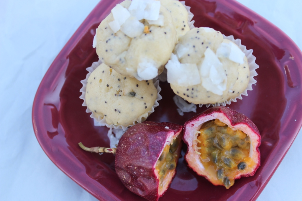 passionfruit, poppyseeds, muffins, mini, coconut, recipe, breakfast, brunch