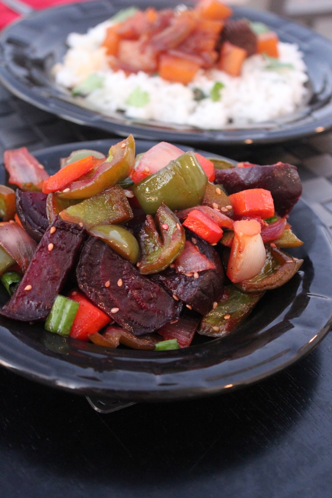 roasted vegetables, asian vegetables, beets, carrots, bell peppers, onions, honey, ginger, soy sauce, sesame seeds, recipe, food, Asian