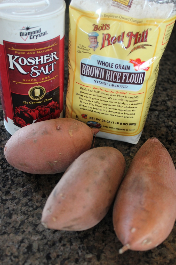 sweet potatoes, kosher salt, brown rice flour, ingredients, recipe, tater tots, homemade