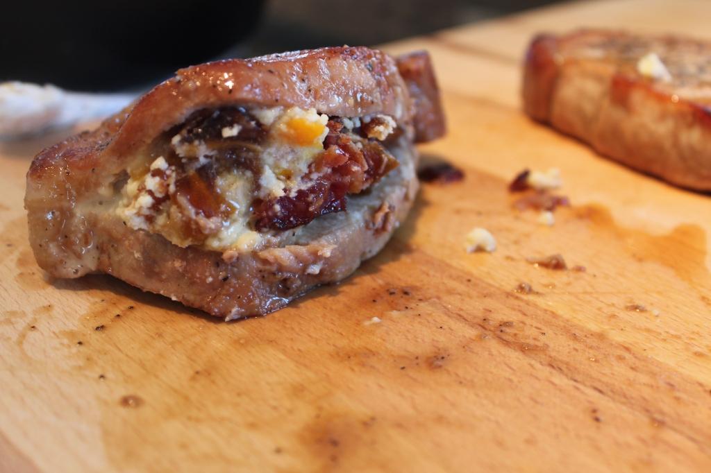 stuffed pork chops, Honey Glazed Pork Chops, recipe, food, honey glaze, pork chops, dates, bacon, stilton cheese