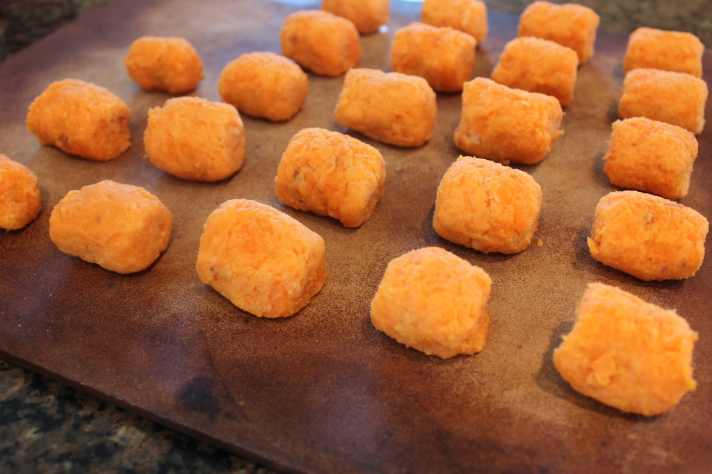 sweet potatoes, baked, gluten free, brown rice flour, sweet potato tots, recipe, tater tots, homemade