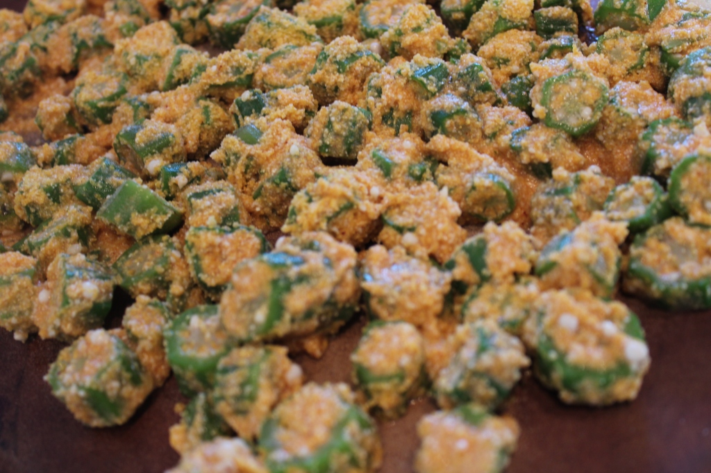 okra, parmesan, cornmeal, crispy, paprika, crusted, crunchy, recipe, ingredients, ziploc bag, cooking