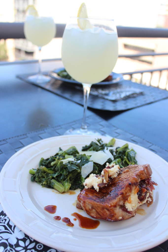 kale, lunch, Honey Glazed Pork Chops, recipe, food, honey glaze, pork chops, stuffed pork chops, stilton apricot cheese, bacon, dates, balcony, lemonade, presentation