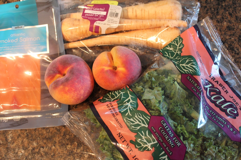 parsnips, smoked salmon, peaches, kale, chopped, food network, mystery basket, ingredients