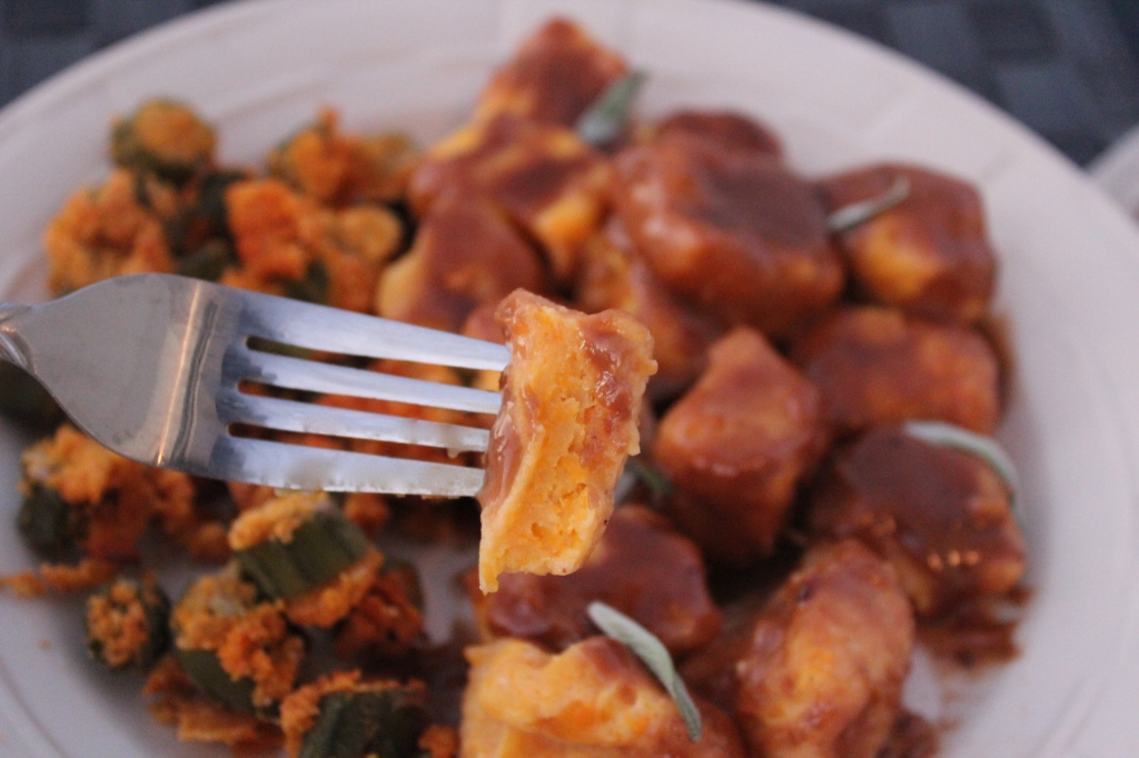 butternut squash, gnocchi, balsamic peanut butter sauce, crispy parmesan okra, recipes, chopped challenge, food network
