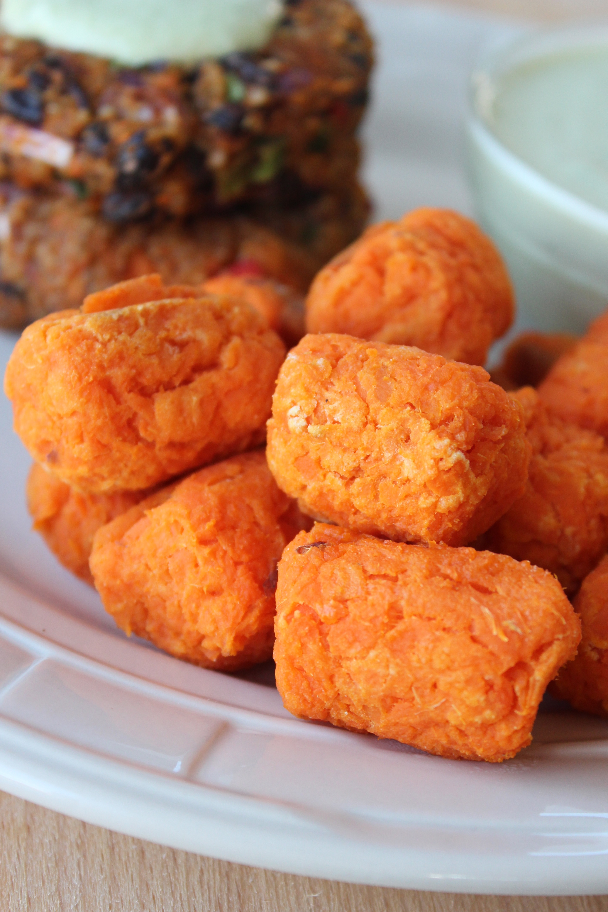 sweet potatoes, kosher salt, brown rice flour, ingredients, recipe, tater tots, homemade, baked, sweet potato tots