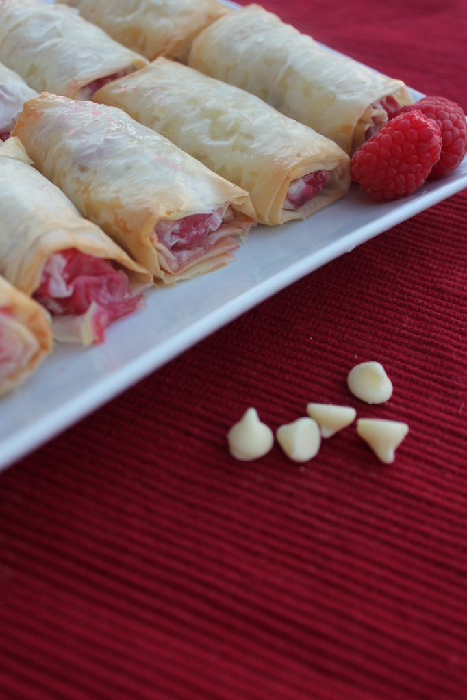 White Chocolate Chip Raspberry Fillo Rolls