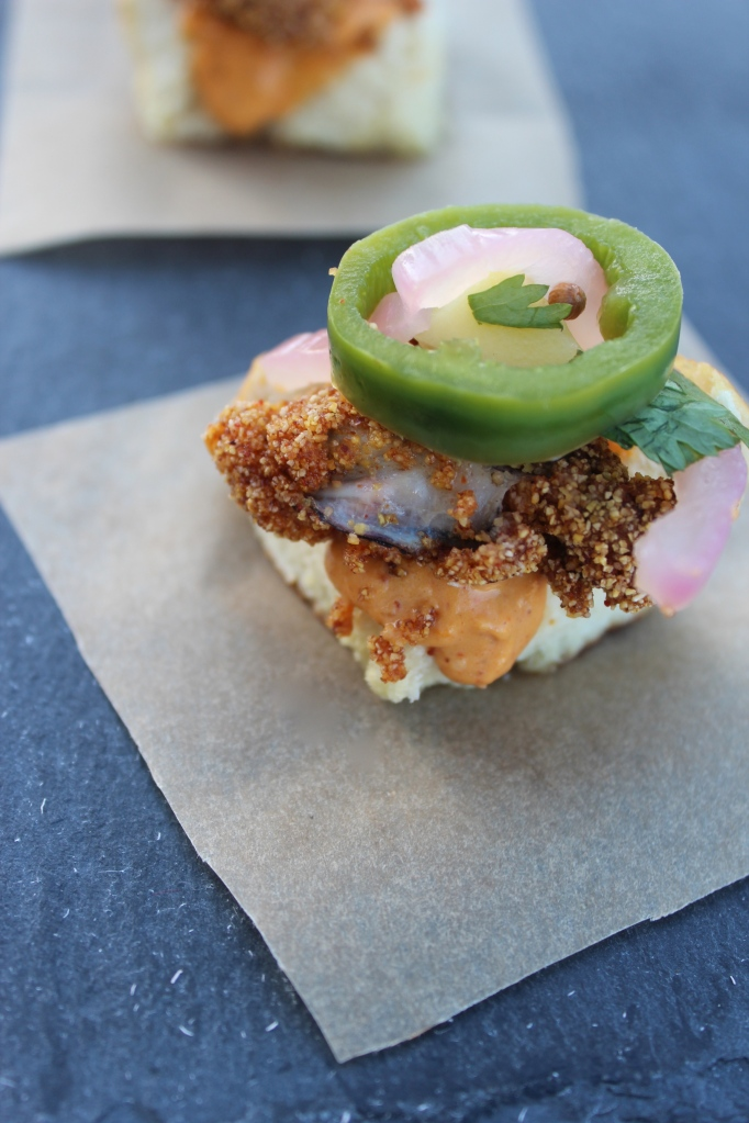 fried oysters, sliders, pretzel bun, oyster sliders, pickled jalapeños, chopped challenge thursdays, mystery basket