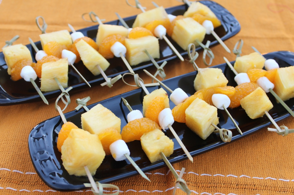 Candy Corn Fruit Skewers