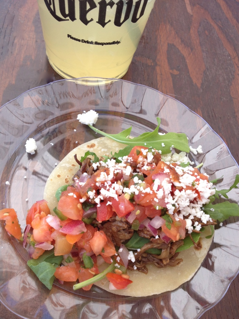 fresh tomato salsa, arugula, shredded beef, beef taco, El Santo, Scottsdale, Arizona Taco Festival