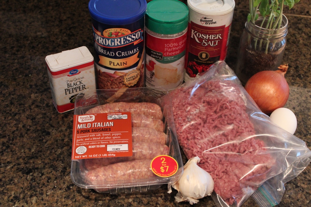 sausage, beef, onions, garlic, egg, basil, fresh basil, breadcrumbs, parmesan cheese, kosher salt, black pepper