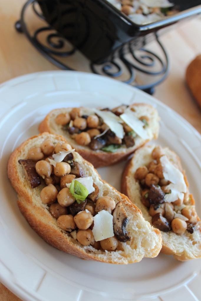 Mushroom Garbanzo Bean Bruschetta