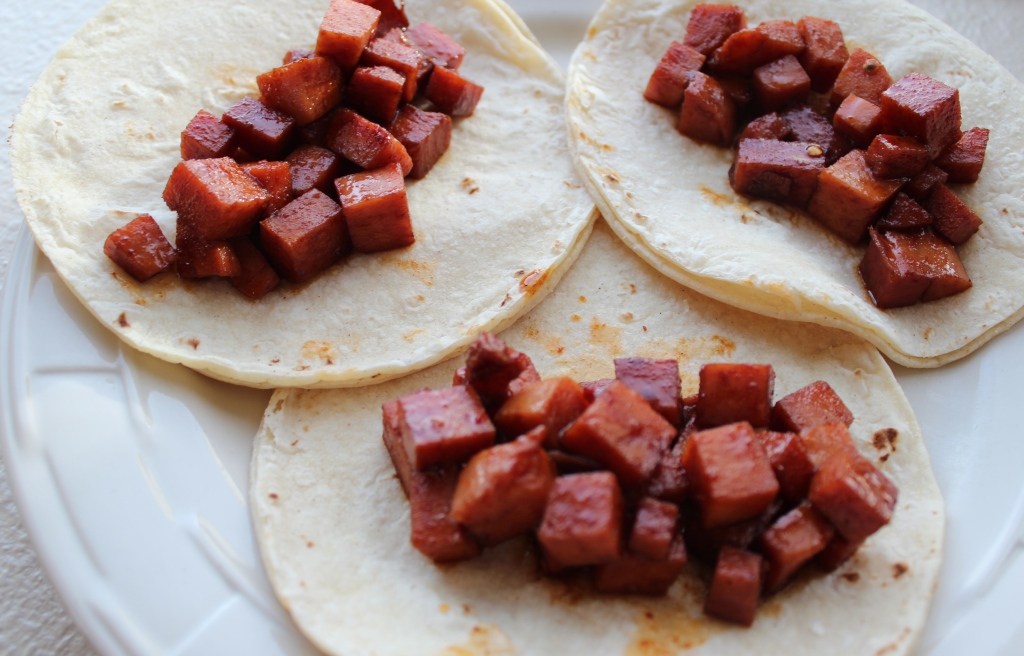 spam tacos, chili lime marinated spam, tacos, corn tortillas, recipe, marinated spam