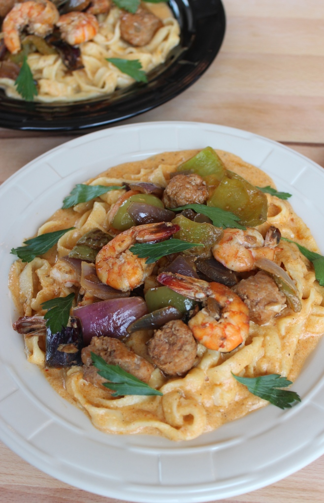 cajun shrimp pasta, cajun shrimp and sausage, cajun pasta, cajun alfredo sauce, shrimp and sausage pasta, recipe, food, cajun food, cajun seasonings