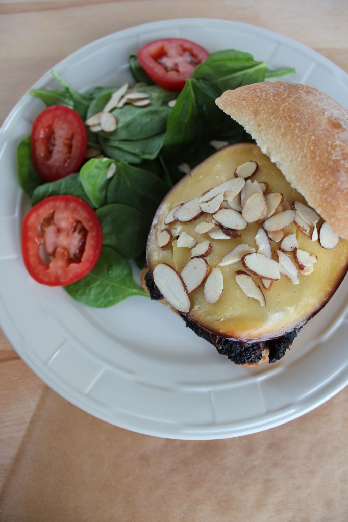 gouda cheeseburger, bond burger, coffee crusted cheeseburger, toasted almond burger, mushroom burger, cheeseburger with focaccia bun, spinach tomato salad, recipe, food