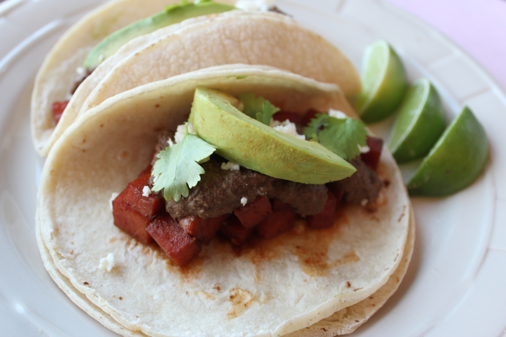 spam tacos, chili lime marinated spam, cranberry mole, cranberry chocolate mole sauce, avocado, cilantro, limes, corn tortillas, recipe