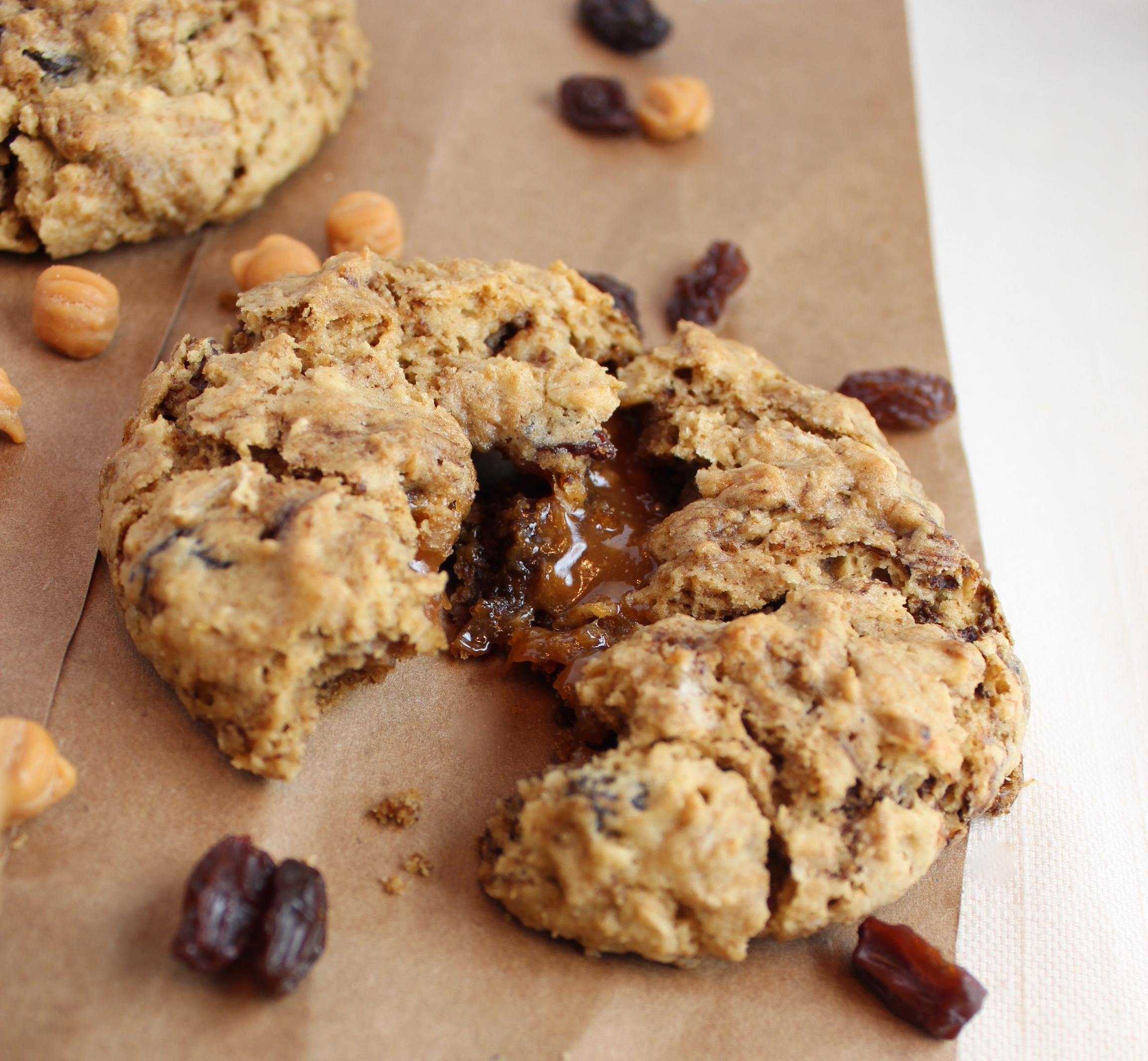 Gluten Free Oatmeal Raisin Caramel Cookies