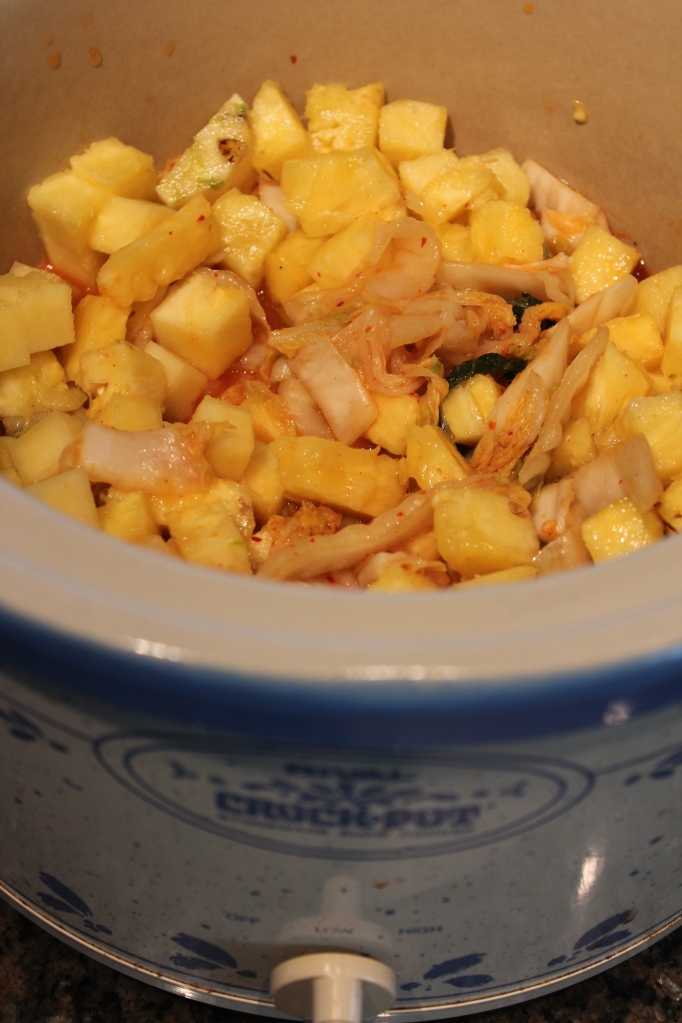 pineapple, kimchee, slow cooker, crock pot, pulled pork, hawaiian pork, hawaiian food