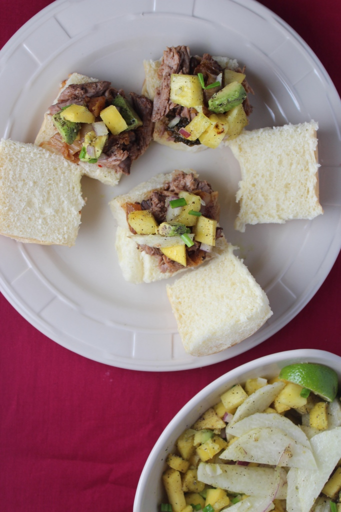 Hawaiian Pulled Pork Sliders with Mango Jicama Salsa