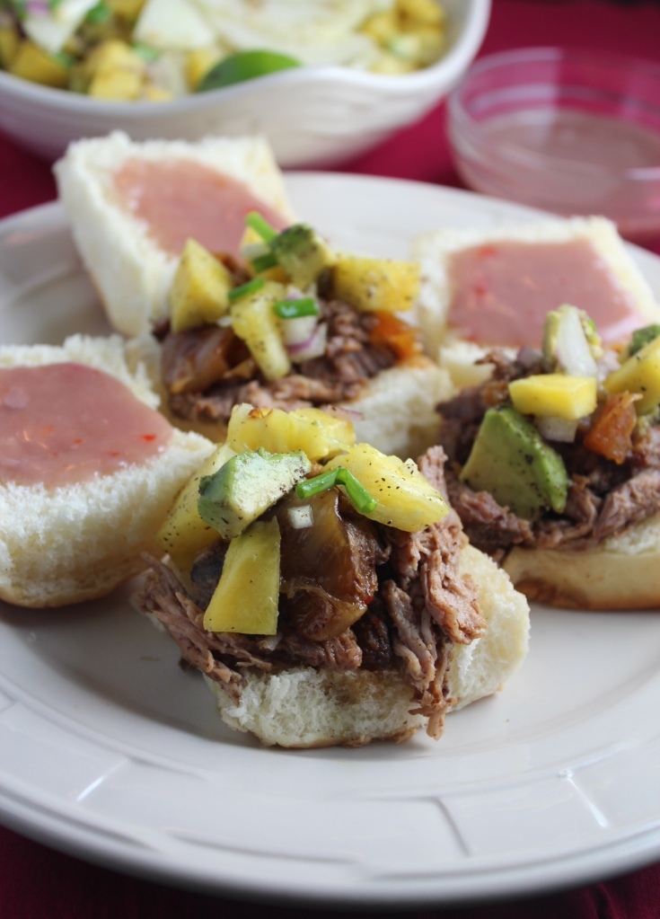 Hawaiian Pulled Pork Sliders with Sweet Chili Poi