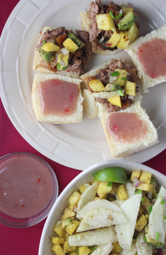 Hawaiian Pork Sliders with Sweet Chili Poi and Mango Salsa