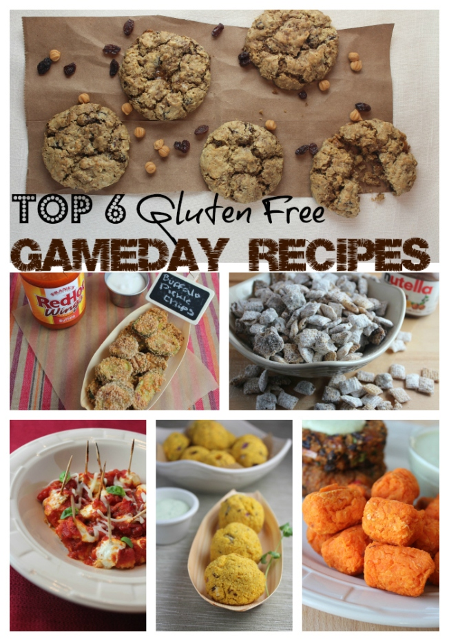 gluten free recipes, gluten free snacks, gluten free gameday food, gluten free superbowl recipes, buffalo pickle chips, sweet potato tots, squash puppies, nutella buddies, oatmeal raisin cookies