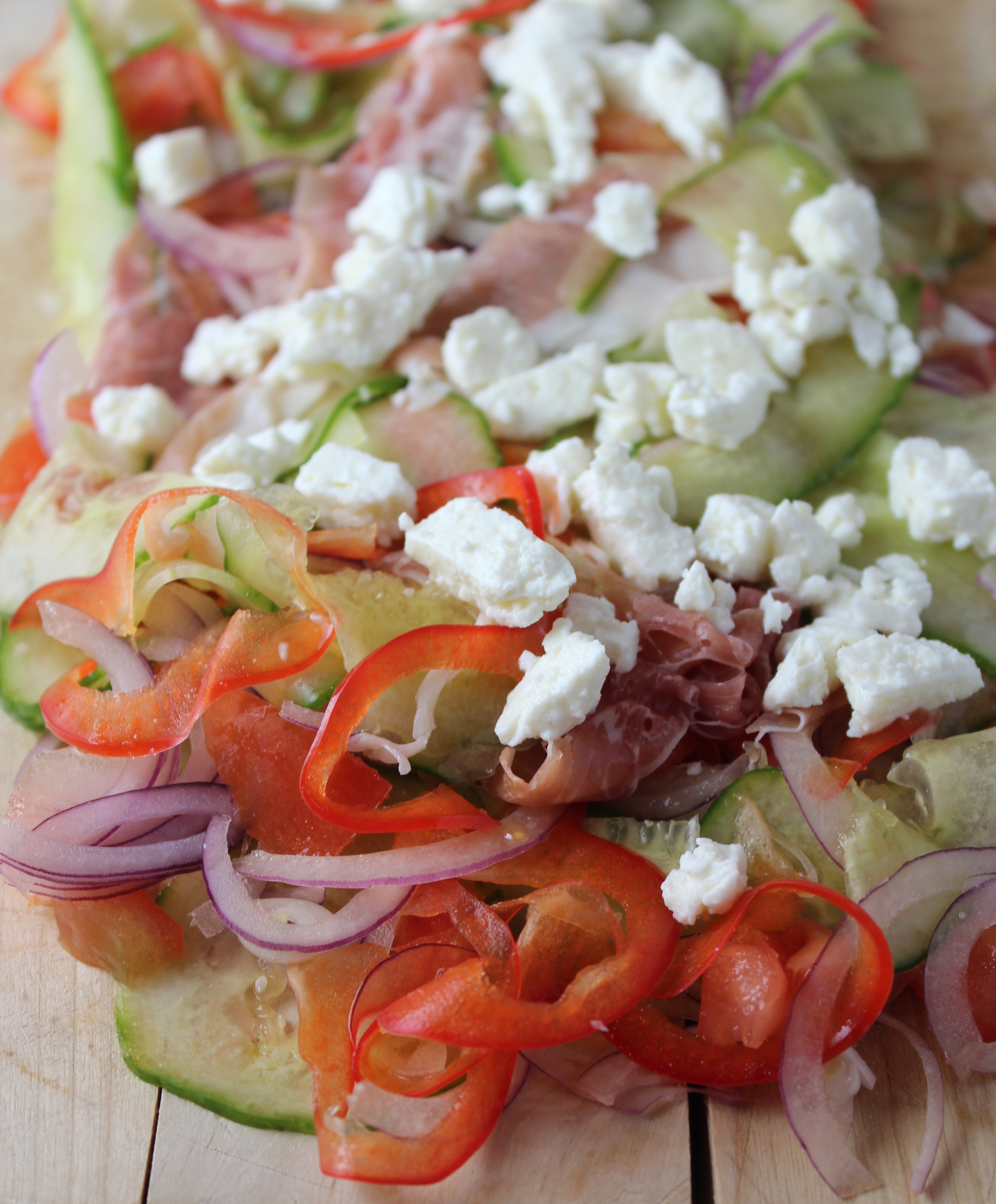 cucumber prosciutto salad, greek salad, greek prosciutto salad, cucumber ribbons, spiral slicer, greek vinaigrette salad dressing, homemade greek vinaigrette, homemade greek salad dressing, recipes, food