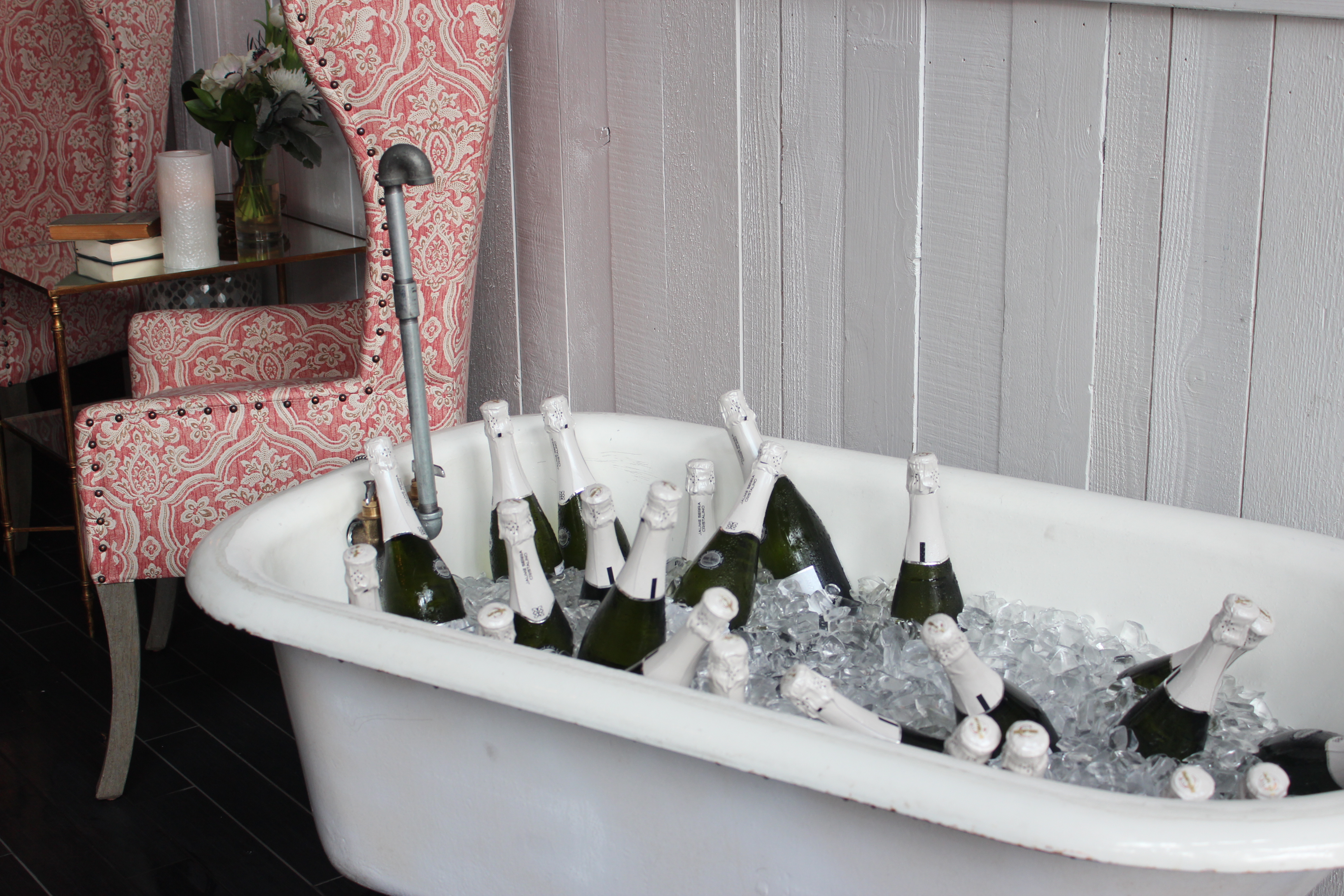 champagne filled bath tub, champagne bath tub, champagne, menu, bourbon maple syrup, breakfast cheese plate, coffee, brunch, bailiwick, san diego, downtown, gaslamp, interior design, chandeliers