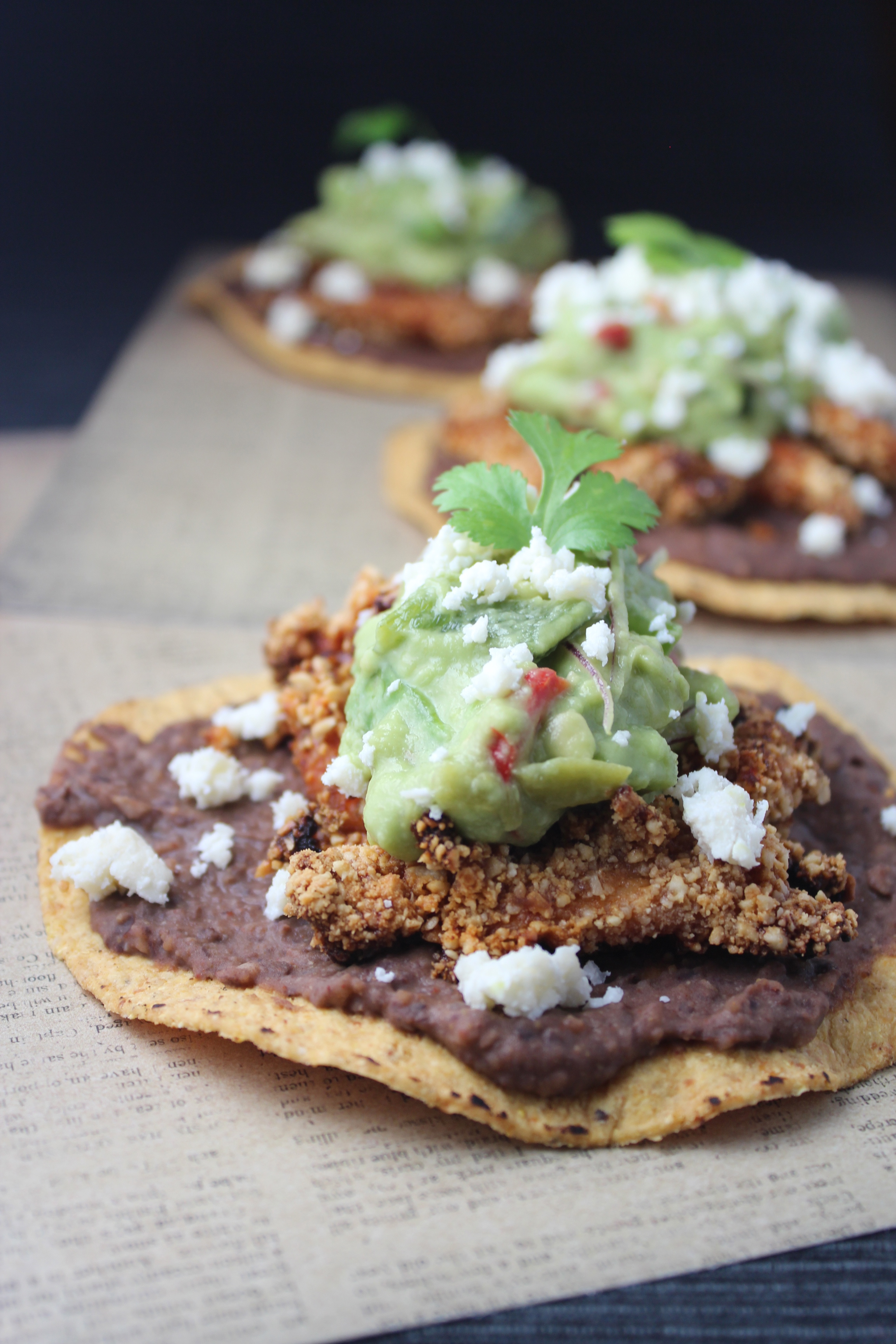 chipotle cashew chicken, crispy chipotle chicken strips, nopale guacamole, cactus guacamole, chipotle chicken tostadas, mexican cashew chicken, garlic lime black bean puree, recipes, food, chopped challenge, black bean chicken tostadas