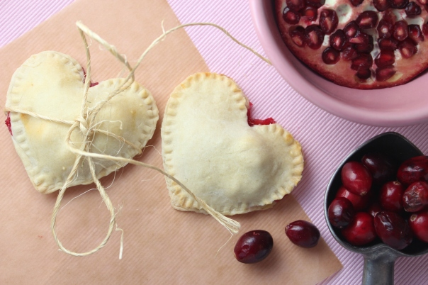Heart Shaped Cranberry Pomegranate Pies {Little Leopard Book}