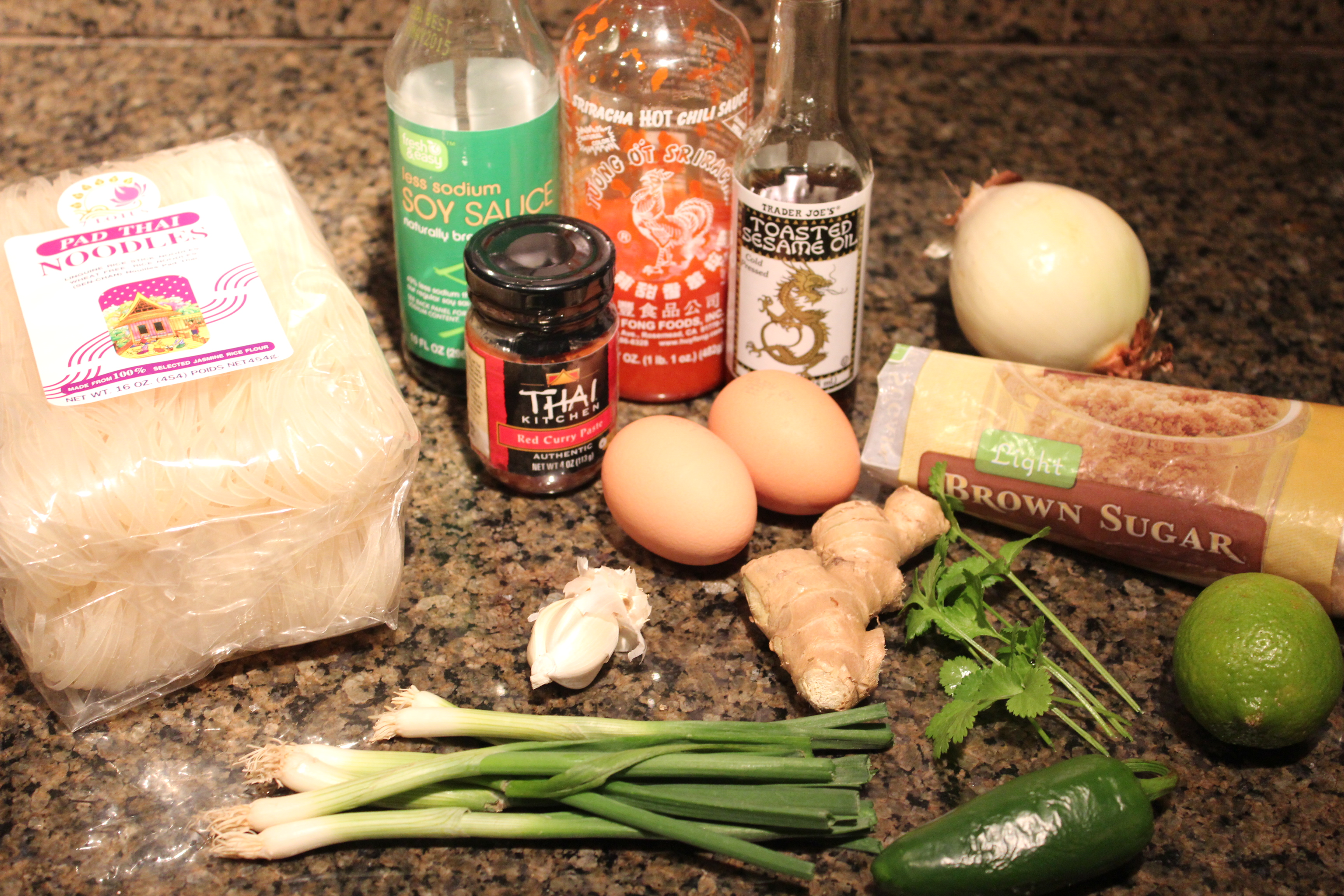 Spicy Vegetable Pad Thai Ingredients